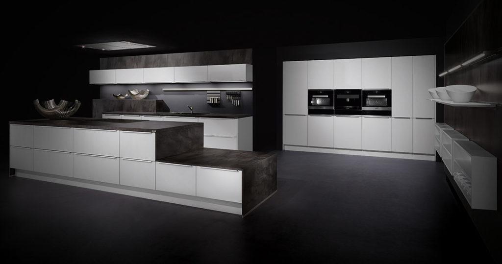cucina bianca moderna Helle kitchen Frontali in Vetro